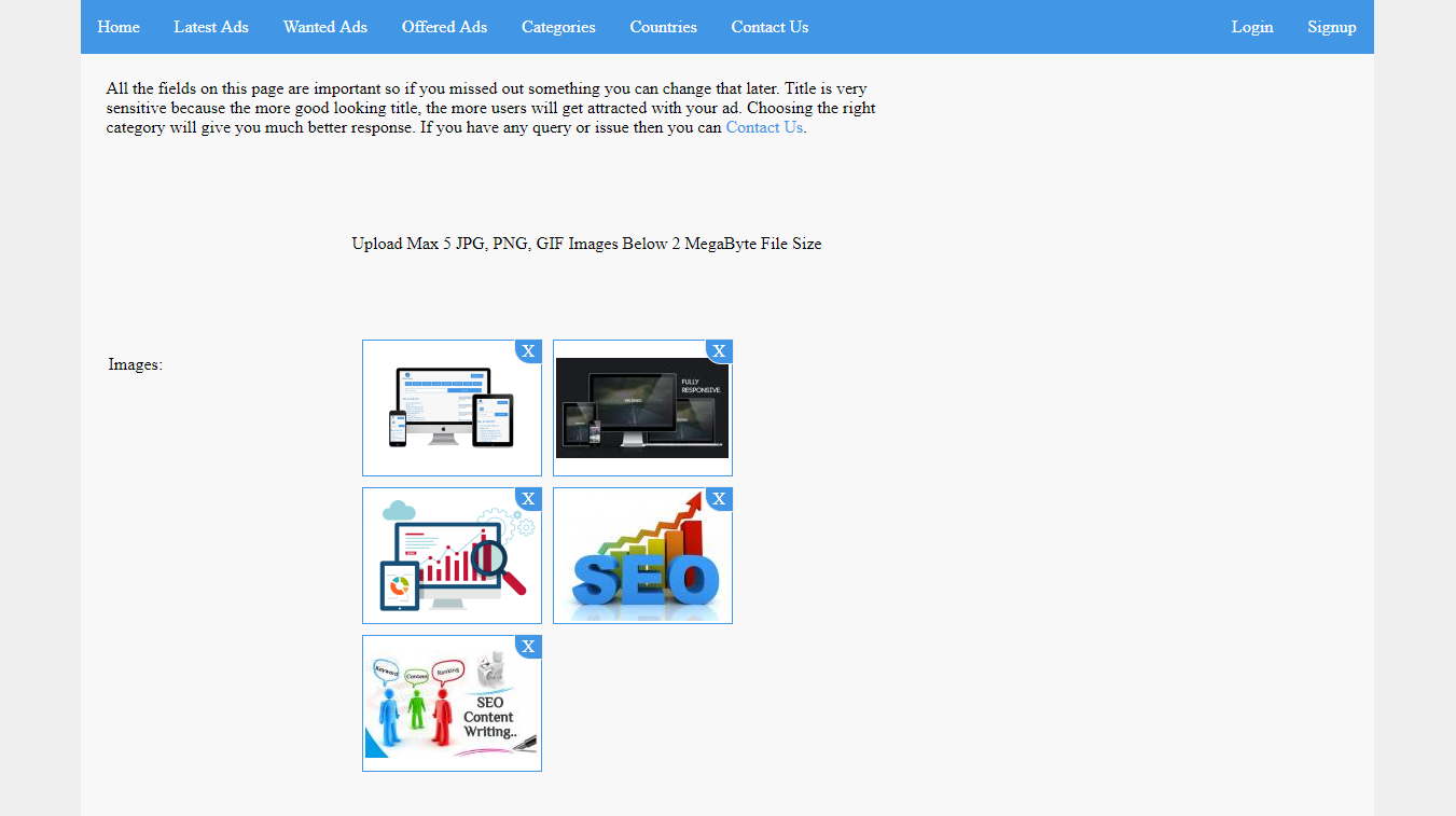 Responsive Blue Classy Upage Image & Ad Posting Page