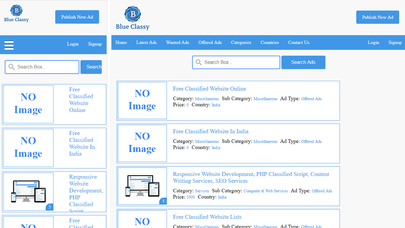 Responsive Mobile and Desktop Version